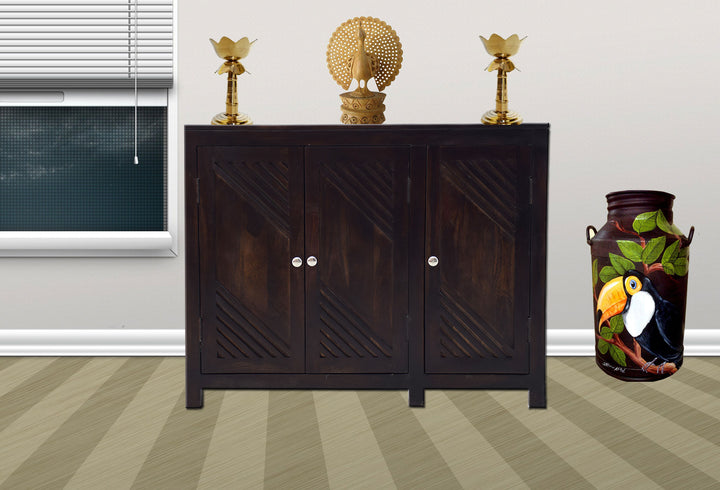 TimberTaste Sheesham Wood 3 door JOHNY side board (Dark Walnut Finish).