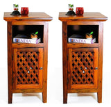 TimberTaste Sheesham Wood KAMA Side Table Natural Teak Finish (set of 2).