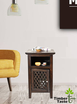 TimberTaste Sheesham Wood KAMA Side Table Dark Walnut Finish