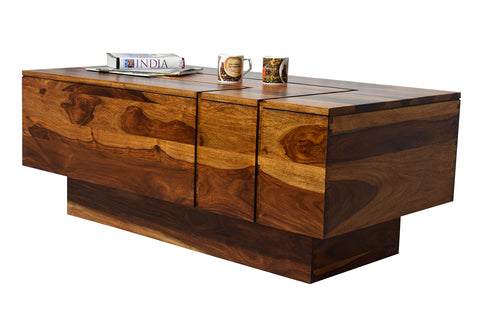 Timbertaste Sheesham Solid Wood KATEE Natural Teak Finish Coffee Center Table Teapoy, Sheesham wood coffee table, rosewood, center table, solid wood table, teapoy, fish tank stand Teak Finish