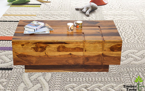 TimberTaste Sheesham Solid Wood Katee Natural Teak Finish Coffee Centre Table Teapoy