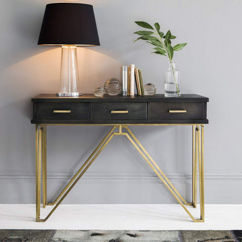 Timbertaste LAMINO Console Table with Iron Frame Black & Golden Finish