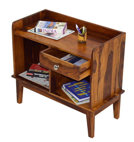 TimberTaste LASER Solid Wood Printer Table in Natural Teek And Dark Walnut Finish, corner table, end table, Printer table, accent table, solid wood table, telephone table, fish tank stand, wooden table, sofa table, bedside table,Teek Finish