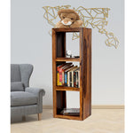 TimberTaste Solid Sheesham Wood LEO Book Shelf (Natural Teak Finish) For Living Room.