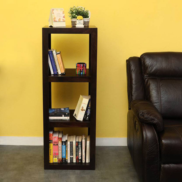 TimberTaste Solid Sheesham Wood LEO Book Shelf (Dark Walnut) For Living Room.