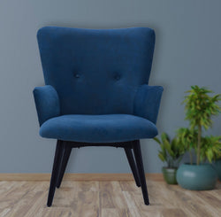 Timbertaste Ditya Blue Upholstered Lounge Chair