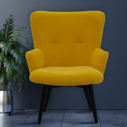 Timbertaste Ditya Yellow Upholstered Lounge Chair