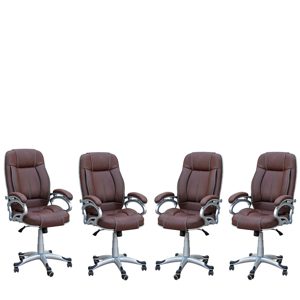 TimberTaste 4 Pieces of LILLY Brown Directors, Executive, Boss, conference high back office chair (Set of 4).