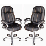 TimberTaste Pair of LILLY Black Golden Stitch Directors, Executive, Boss, conference high back office chair (Set of 2).