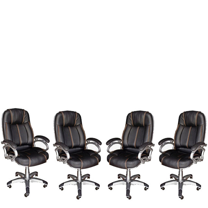 TimberTaste 4 Pieces of LILLY Black Golden Stitch Directors, Executive, Boss, conference high back office chair (Set of 4).