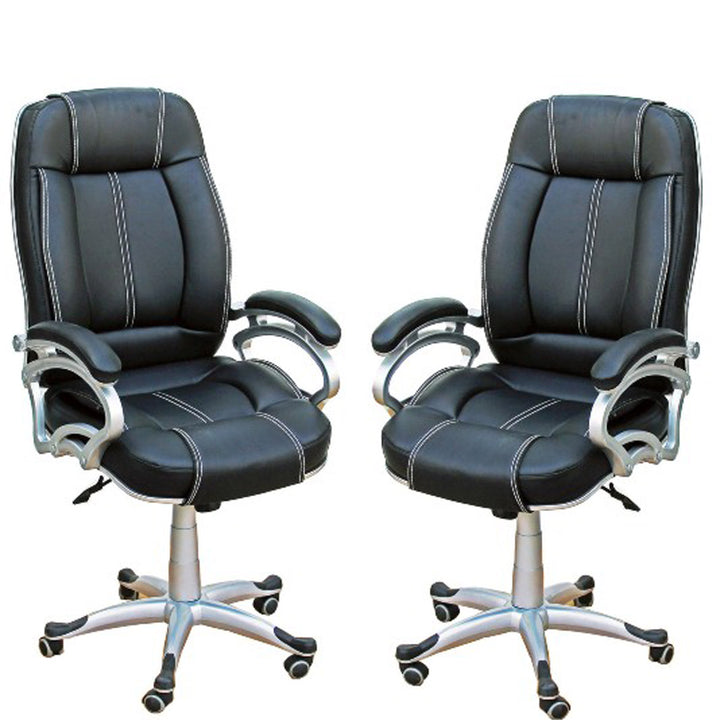 TimberTaste Pair of LILLY Black White Stitch Directors, Executive, Boss, conference high back office chair (Set of 2).
