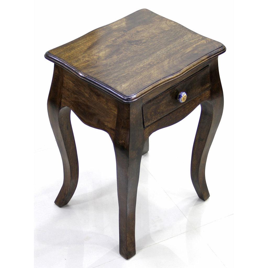 Light Walnut Wood Caleb Accent Table: Daintree Solid Wood 1 Draw LOPAZ Side End Corner Table