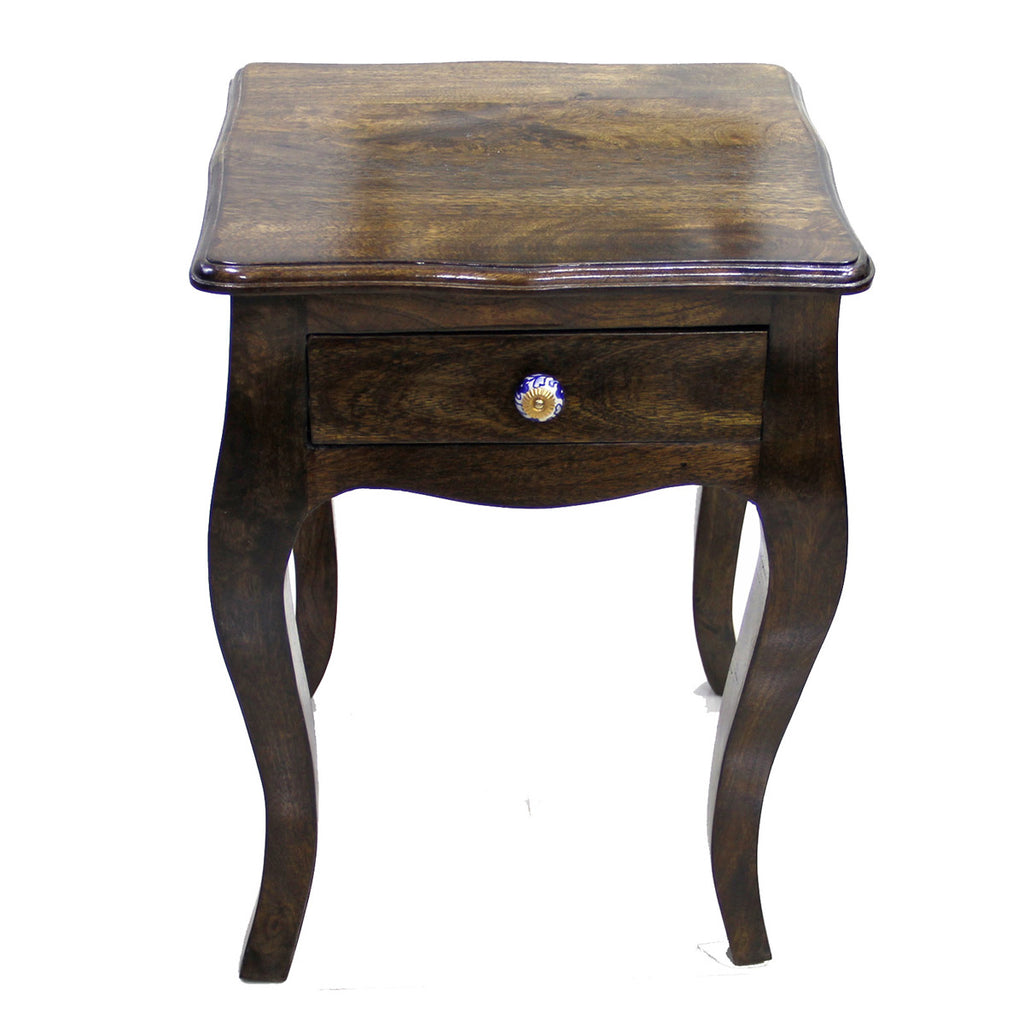 Light Walnut Wood Caleb Accent Table: TimberTaste Solid Wood 1 Draw LOPAZ Side End Corner Table