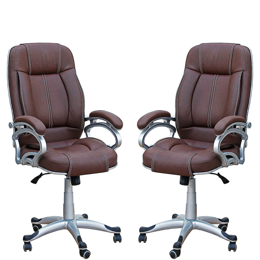 TimberTaste Pair of LILLY Brown Directors, Executive, Boss, conference high back office chair (Set of 2).
