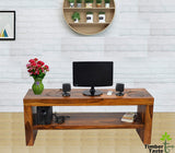 TimberTaste MALU Solid Wood TV Entertainment Unit  (Finish Color - Natural Teak)