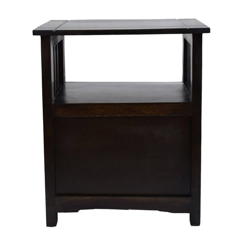 TimberTaste Sheesham Wood 1 Door Cabinet MEEKA End Corner Table Dark Walnut Finish
