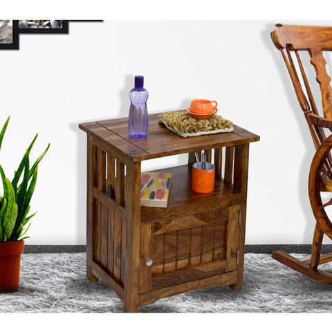 Daintree Sheesham Wood 1 Door Cabinet MEEKA End Corner Table Natural Teak Finish