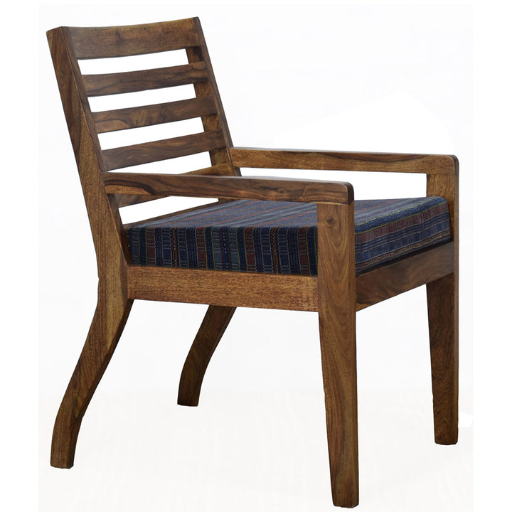 TimberTaste Lounge Cafetaria Blue Velvet Fabric Accent Design Patio Chair Sheesham Wood Leg.
