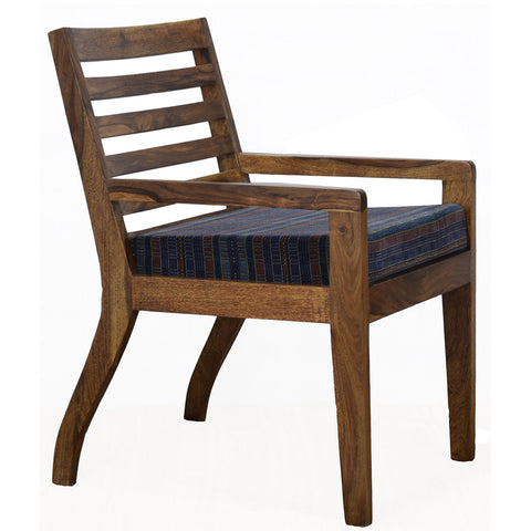 Daintree Lounge Cafetaria Blue Velvet Fabric Accent Design Patio Chair Sheesham Wood Leg.
