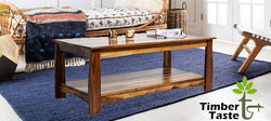 TimberTaste Sheesham Solid Wood Misty Natural Teak Finish Coffee Centre Table Teapoy