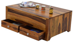 TimberTaste Sheesham Wood 2 Draw MODULA Natural Teak Finish Coffee Centre Table Teapoy, solid wood, fish tank stand, wooden table, multi-purpose cabinet