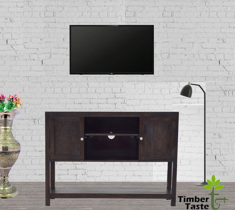 Timbertaste Sheesham Solid Wood Mowgli TV Unit Cabinet Entertainment Stand (Dark Walnut)