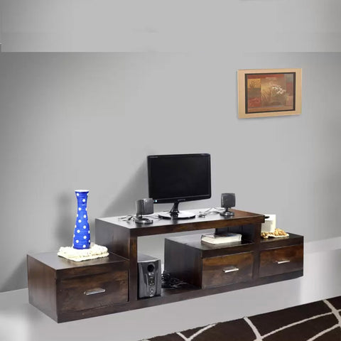TimberTaste Sheesham Wood NADIA / SAROJ 3 Draw TV Cabinet (Dark Walnut Finish).