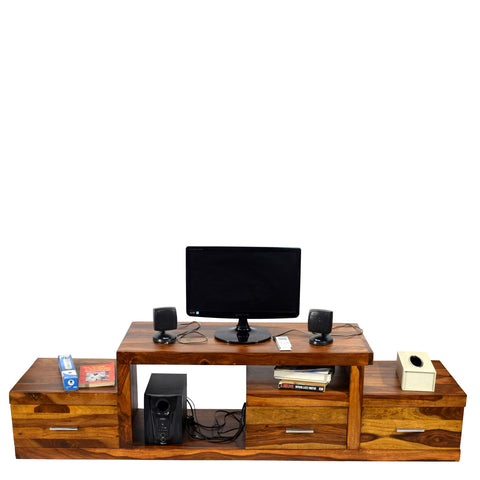 TimberTaste Sheesham Wood NADIA / SAROJ 3-Draw TV Cabinet (Natural Teak Finish).