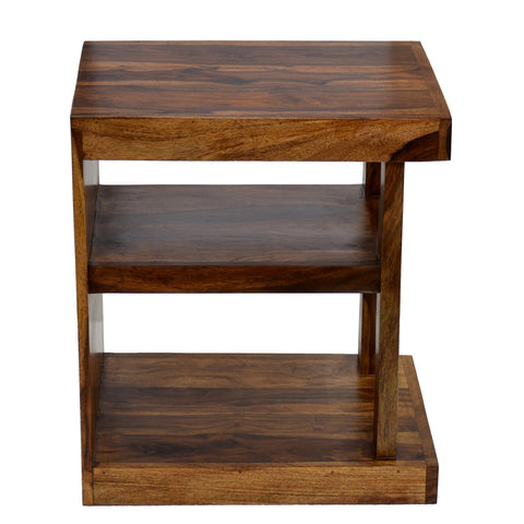 TimberTaste Sheesham Wood NEELU Side End Accent Corner Table  Natural Teak Finish