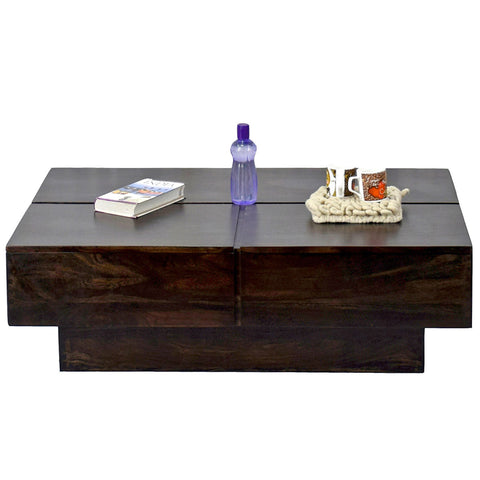 TimberTaste Solid Sheesham Wood NEWCENTO Coffee Table Dark Walnut  For Home Furniture