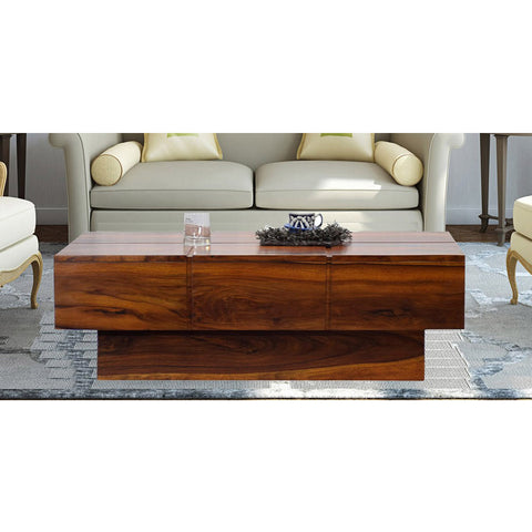TimberTaste Solid Sheesham Wood NEWCENTO Coffee Table Natural Teak For Home Furniture