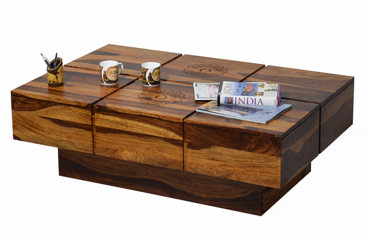 TimberTaste Solid Sheesham Wood NEWCENTO-FLR Coffee Table Dark Walnut For Home Furniture