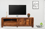 TimberTaste Solid Sheesham (Rosewood) Wood NEWCUBA TV Cabinet (Natural Teak Finish).
