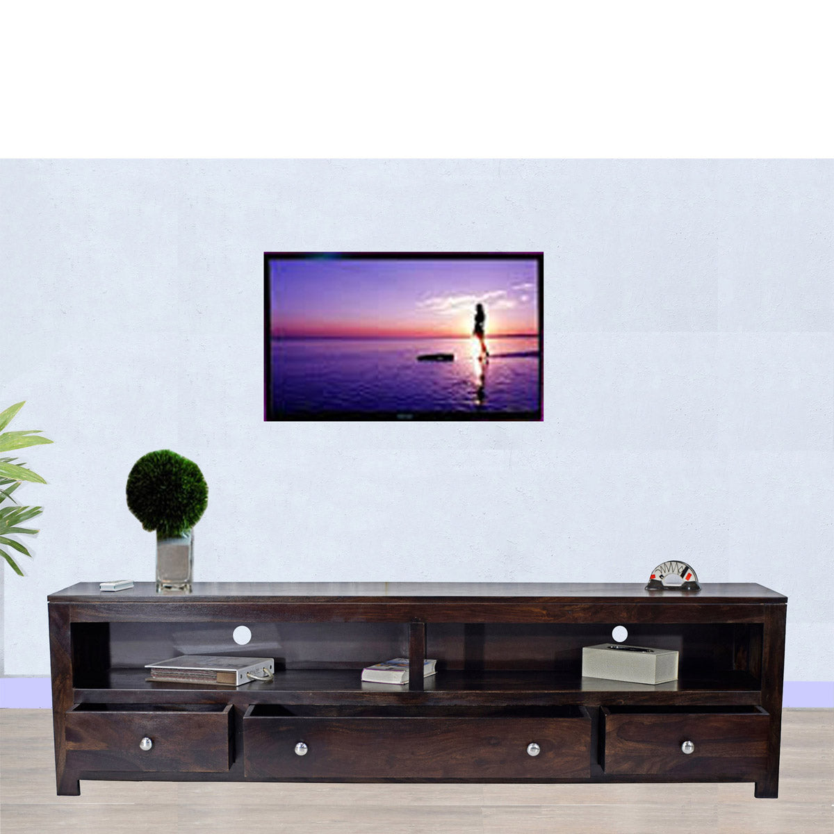 Daintree Sheesham Wood 3 Draw NEWDOLLY Dark Walnut Modern TV