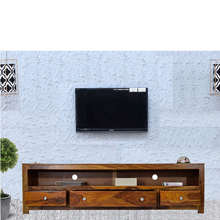 TimberTaste Sheesham Wood 3 Draw NEWDOLLY Natural Teak Modern TV Unit Cabinet Entertainment Stand.