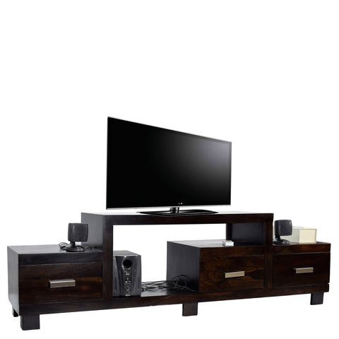 TimberTaste Sheesham Wood NEWNADIA 3 Draw TV Cabinet Dark Walnut.