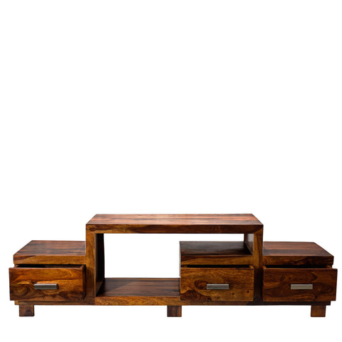 TimberTaste Sheesham Wood NEWNADIA 3 Draw TV Cabinet Natural Teak.