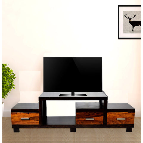 Daintree Sheesham Wood NEWNADIA 3 Draw TV Cabinet Dark Walnut With Teak Draw.