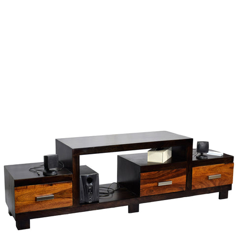 TimberTaste Sheesham Wood NEWNADIA 3 Draw TV Cabinet Dark Walnut With Teak Draw.