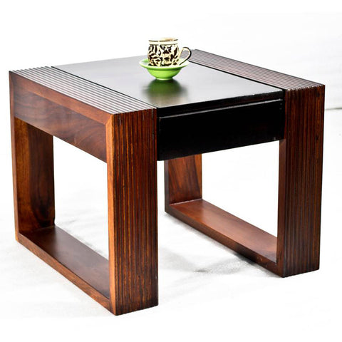 Daintree Sheesham Wood NOVA Dual Color Side Table Walnut top Teak frame