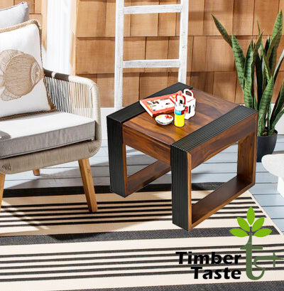 TimberTaste Sheesham Wood NOVA Dual Color Side Table Teak top Walnut frame
