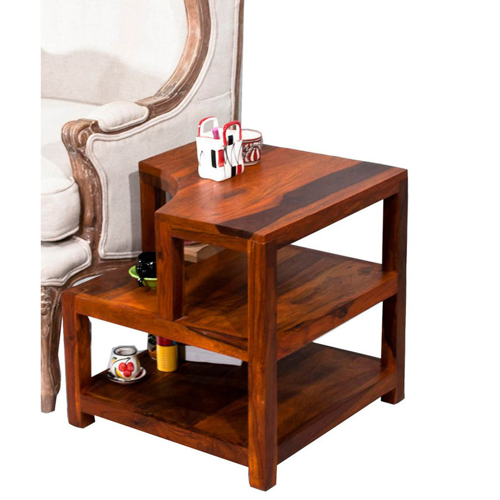 TimberTaste Sheesham Wood OPAL Side Table Natural Teak finish