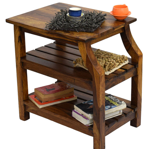 TimberTaste Sheesham Wood OPERA Side End Corner Table Natural Teak finish