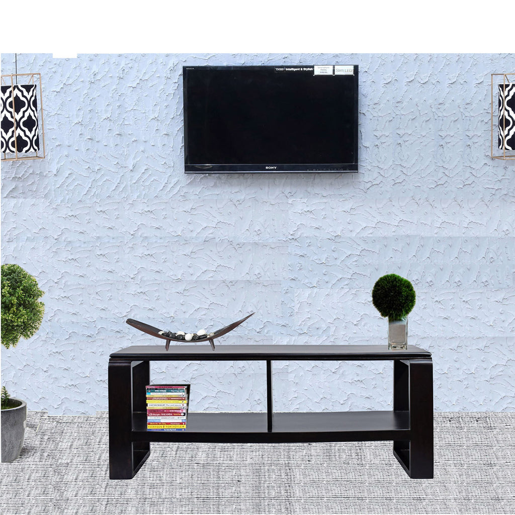 TimberTaste OPPO Solid Wood TV Entertainment Unit  (Finish Color - Dark Walnut)