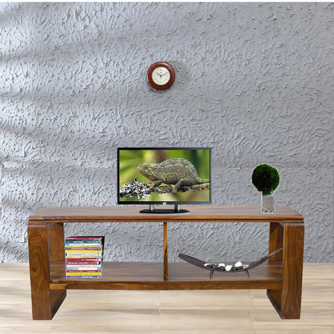 Daintree OPPO Solid Wood TV Entertainment Unit  (Finish Color - Natural Teak)