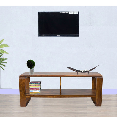 TimberTaste OPPO Solid Wood TV Entertainment Unit  (Finish Color - Natural Teak)