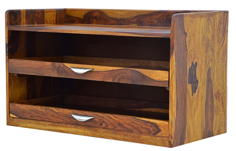 Timbertaste Sheesham Solid Wood Orion Natural Teak Finish Shoe Rack Shoe Cabinet Shoe Storage