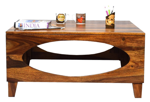 Timbertaste Sheesham Solid Wood Oval Natural Teak Finish Coffee Center Table Teapoy