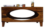 Timbertaste Sheesham Solid Wood OVAL Natural Teak Finish Coffee Center Table Teapoy, Sheesham wood coffee table, rosewood, center table, solid wood table, teapoy, fish tank stand Teak Finish