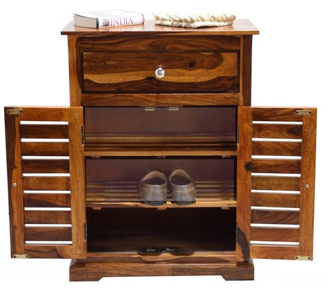 Timbertaste Sheesham Solid Wood PAGNI Natural Teak Finish Shoe Rack Shoe Cabinet Shoe Storage